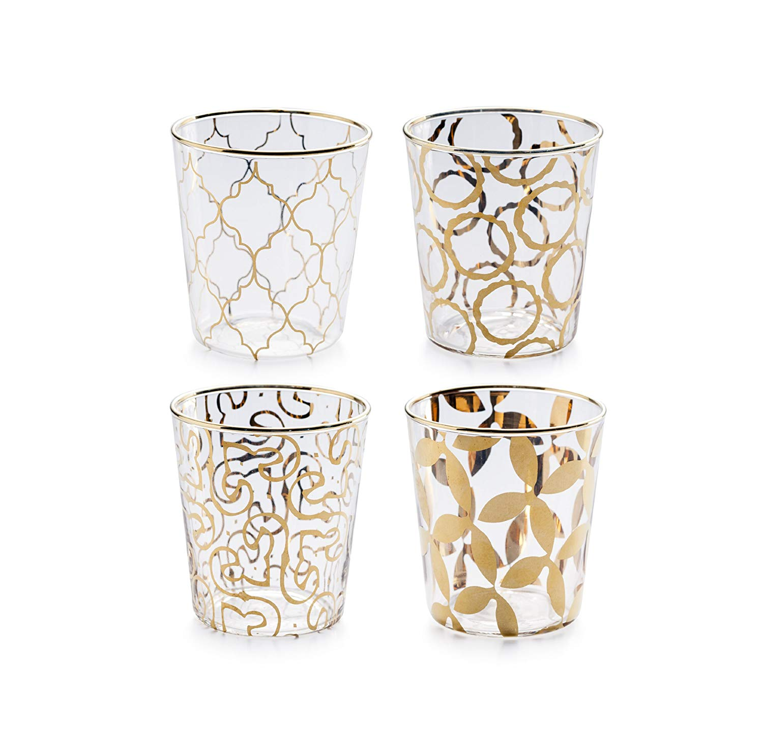 Luxe Moderne Double Old Fashioned Glass, Clear/Gold, Set of 4
