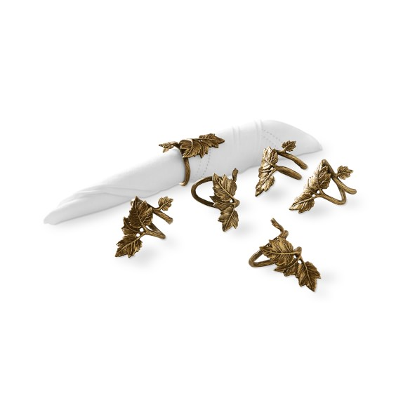 Antique Brass Leaf Napkin Rings