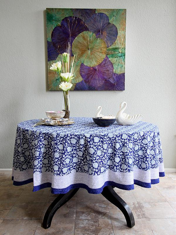 Asian Blue Floral Banquet Round Tablecloth