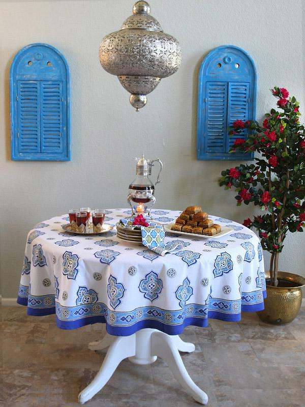 white and blue tablecloth in a Moroccan pattern