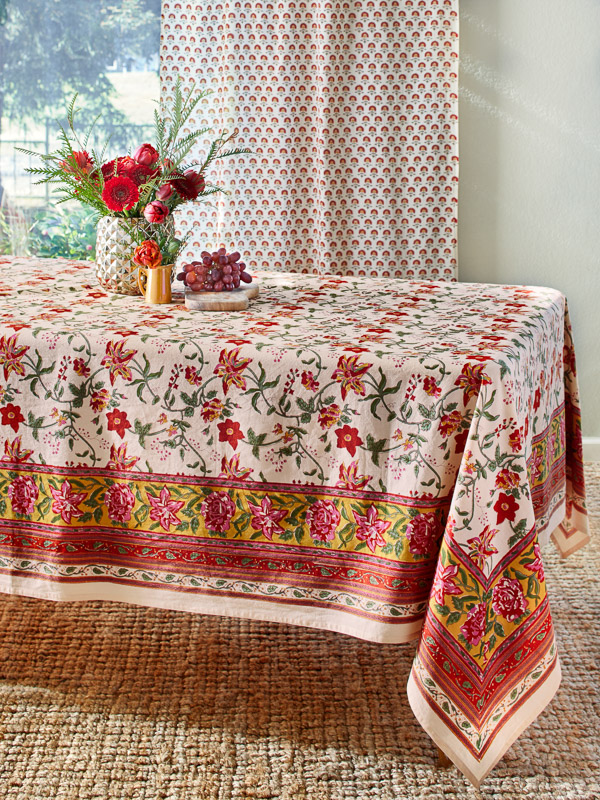 Vintage floral tablecloth with red flowers block printed