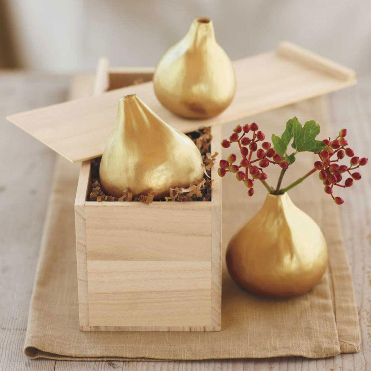 Gilded Fig Vases, Set Of 3