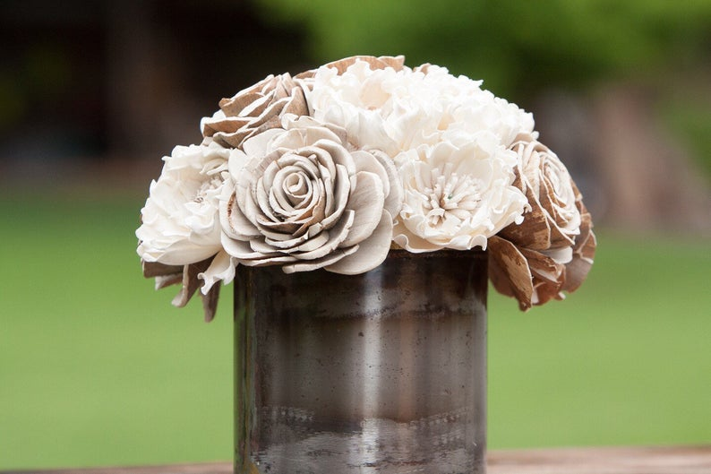 Keepsake Ivory and Tan Sola Flower Centerpiece