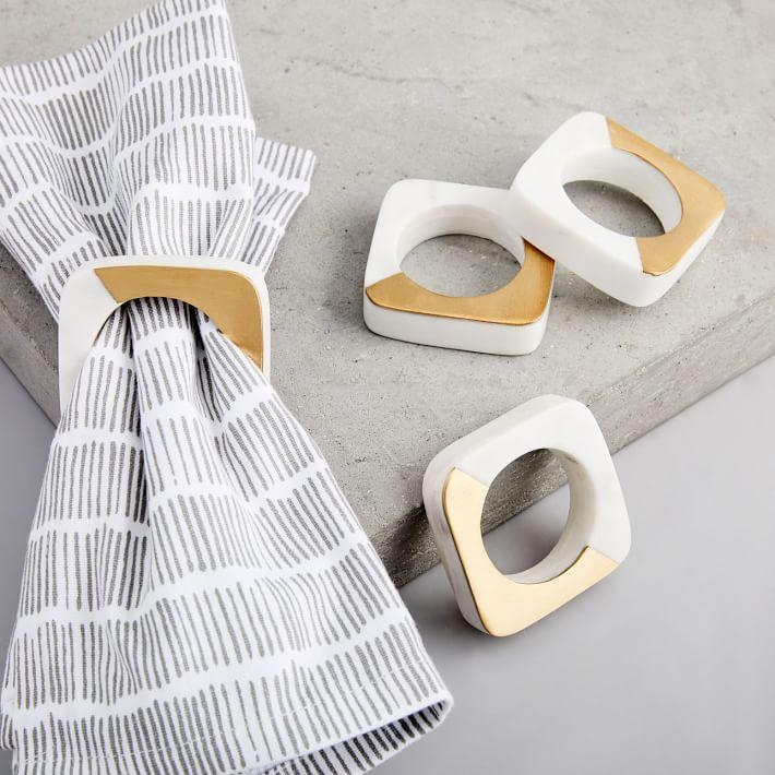 Marble + Brass Napkin Rings (Set of 4)
