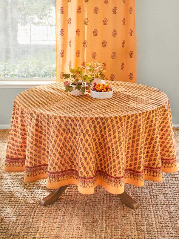 Orange Round India Print Paisley Tablecloths