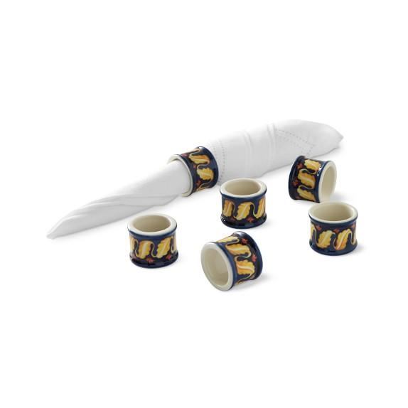 Sicily Ceramic Napkin Rings, Set of 6