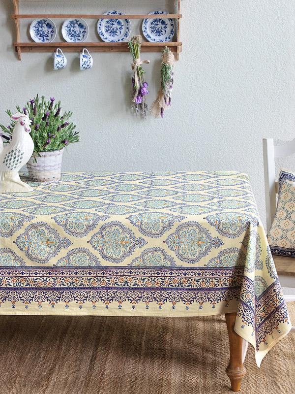 Morning Dew ~ French Country Provence Yellow Blue Tablecloth