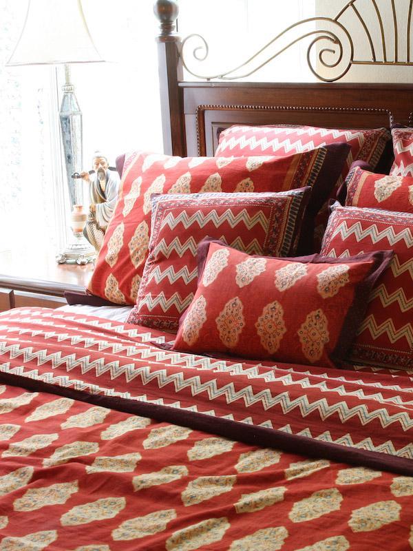 Red Orange Moroccan Indian Duvet Cover
