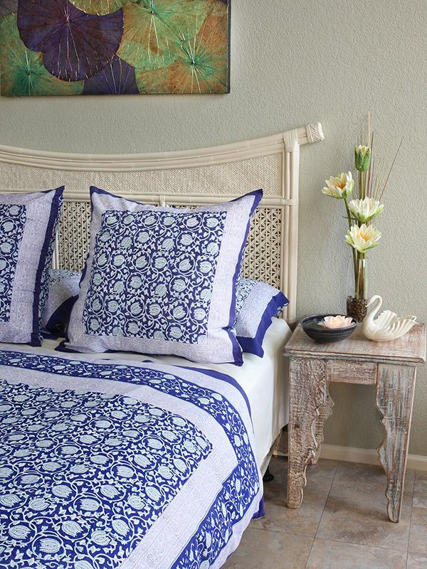Asian Blue Floral European Pillow Sham Cover