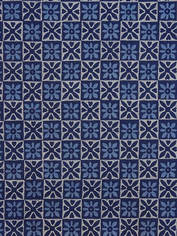 Blue and White Fabric Swatch with Batik Styling