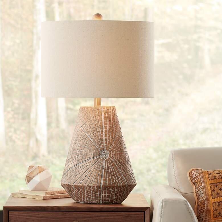 Copper Faux Wood Table Lamp