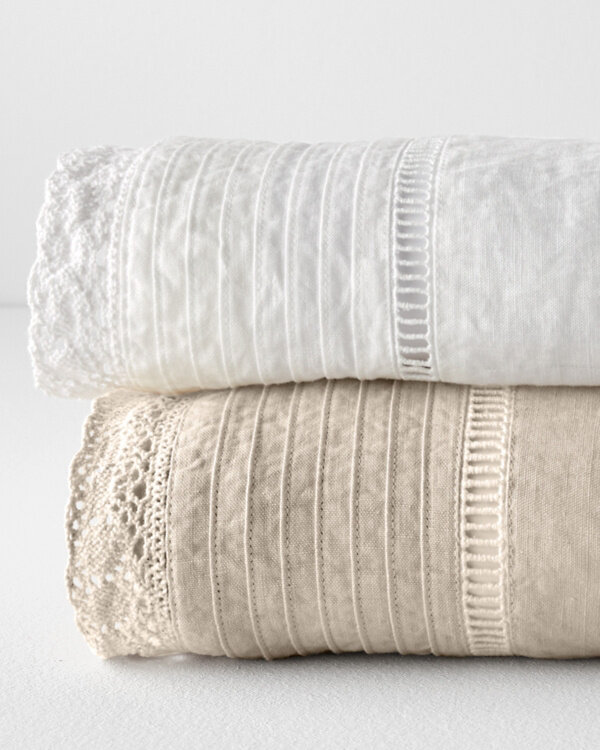 Crochet Hem Relaxed Linen Sheets