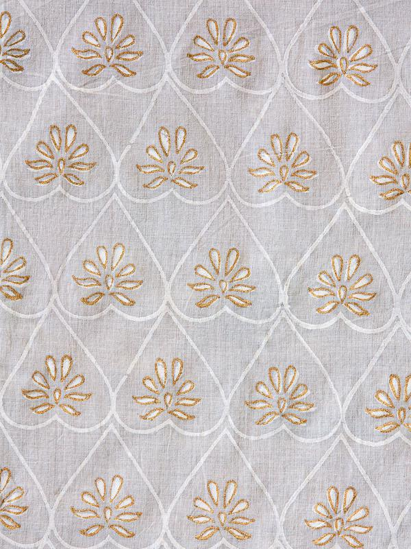 Grey and Gold Fabric Swatch with Lattice Print