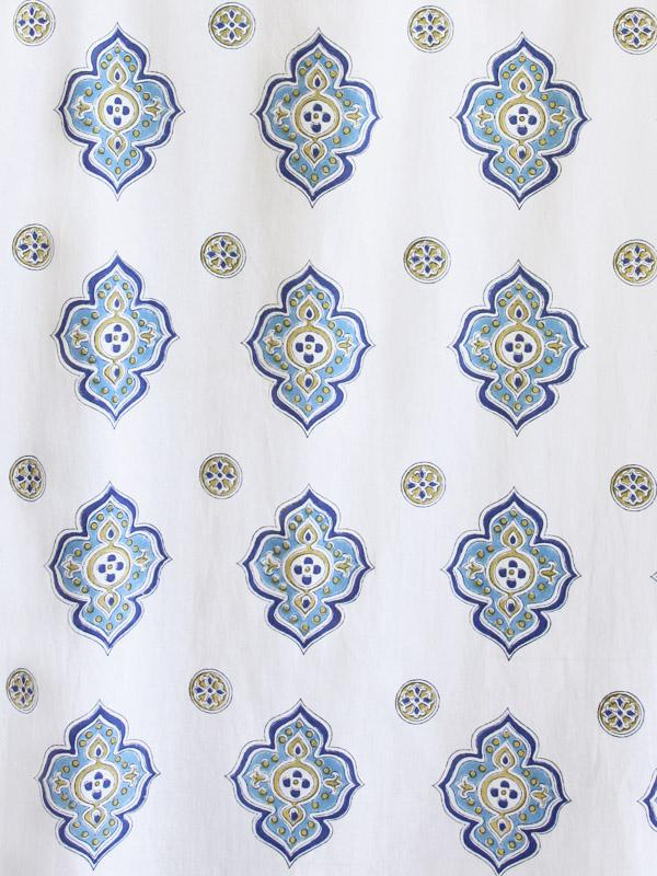 Moroccan Inspired White and Blue Fabric Swatch