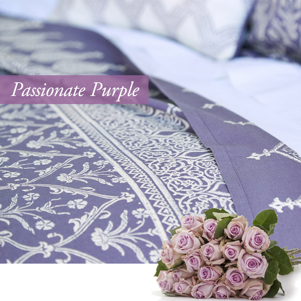 Passionate purple duvet cover for a valentines day bedroom celebration