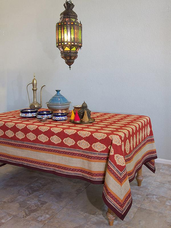 Red Orange Moroccan Indian Table Cloth
