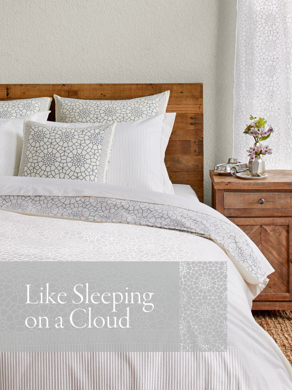 white duvet cover with pattern