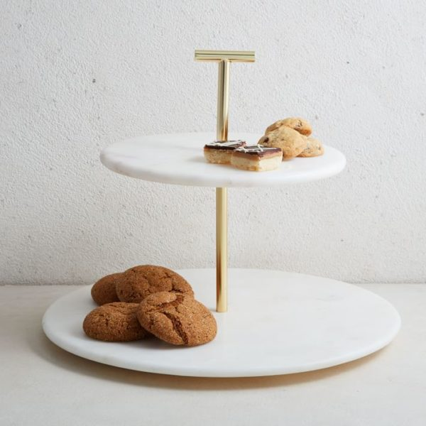 Marble & Brass 2-Tier Cake Stand