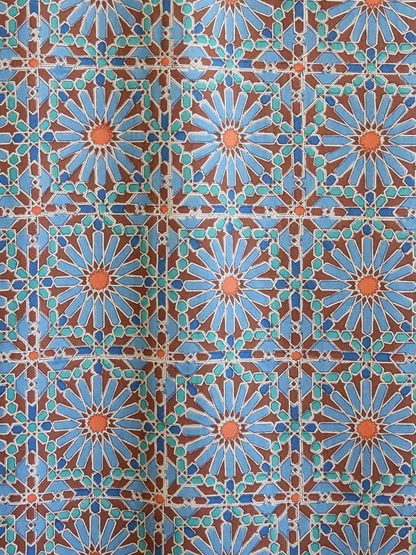 Geometric Blue and Orange Fabric Swatch
