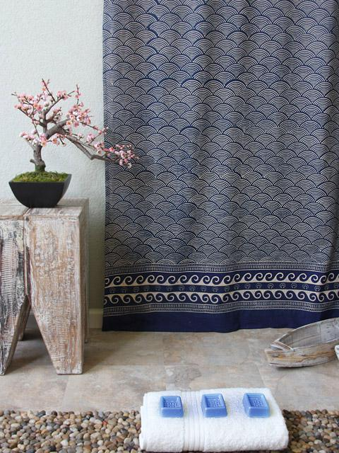 Rustic Navy Ocean Asian Inspired Shower Curtain
