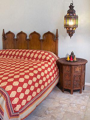 Red Orange Moroccan Indian Bedspread