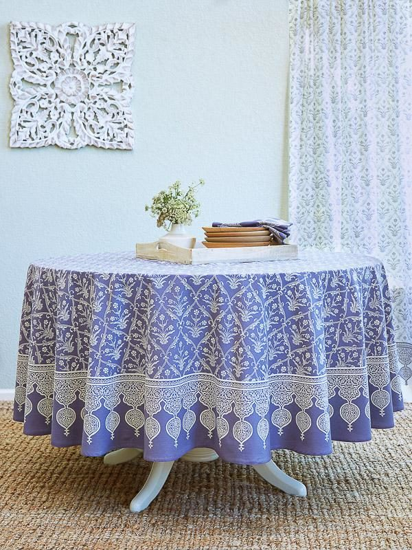 Purple Floral Bohemian Round Tablecloth