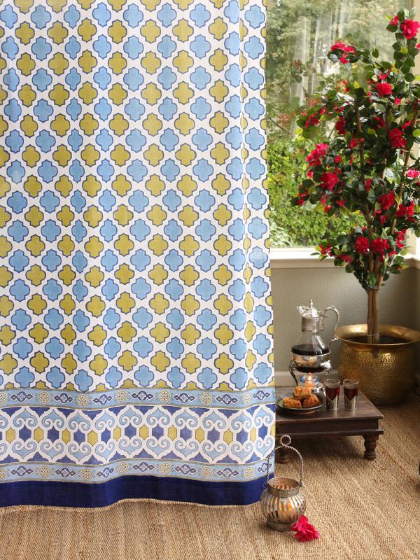 Moroccan Inspired White Quatrefoil Curtain