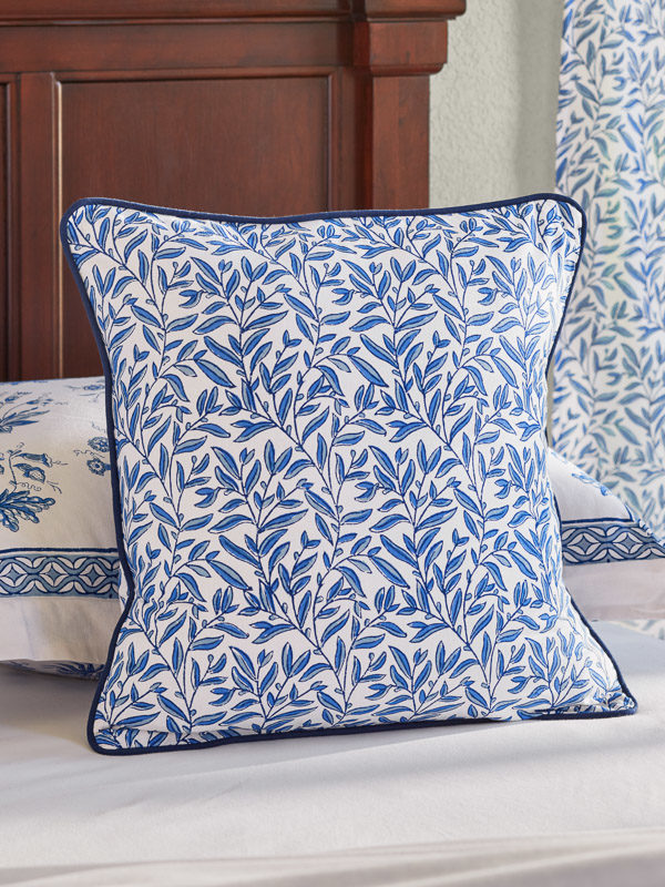 throw pillow cover with blue botanical print