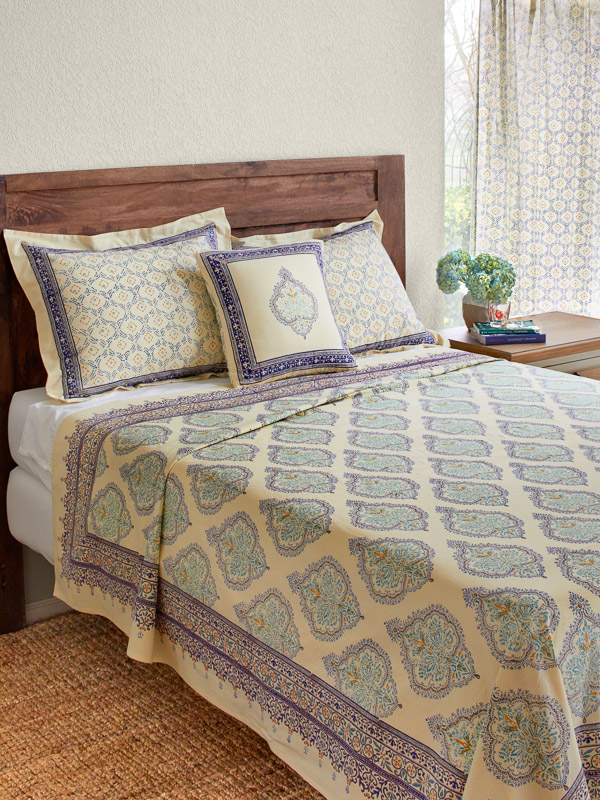 Morning Dew ~ Elegant French Country Medallion Yellow Bedspread