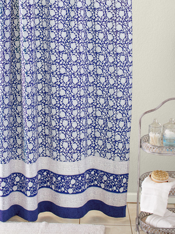 lotus flower pattern blue shower curtain for a spa bathroom