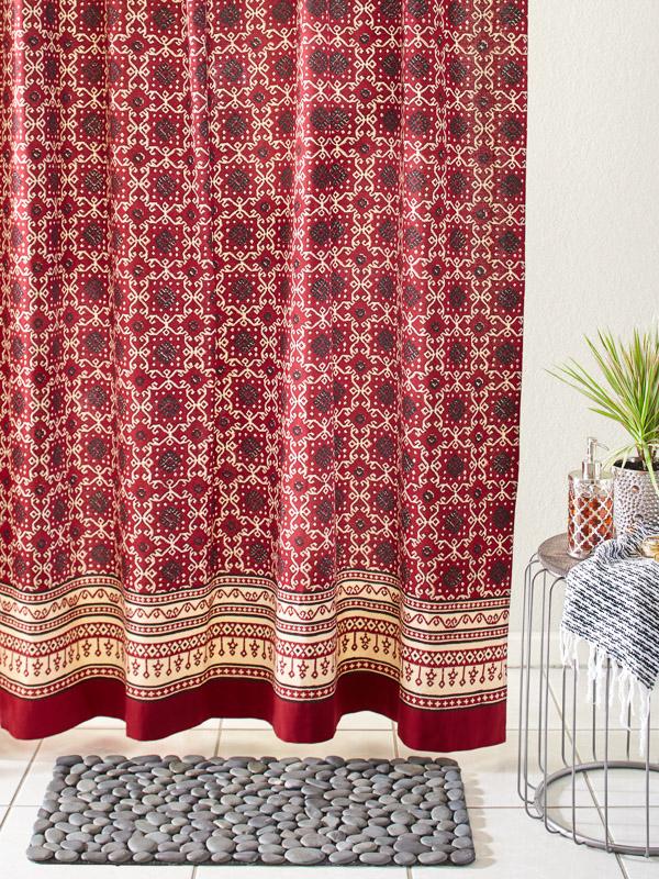 Designer Luxury Red Black Fabric Shower Curtain