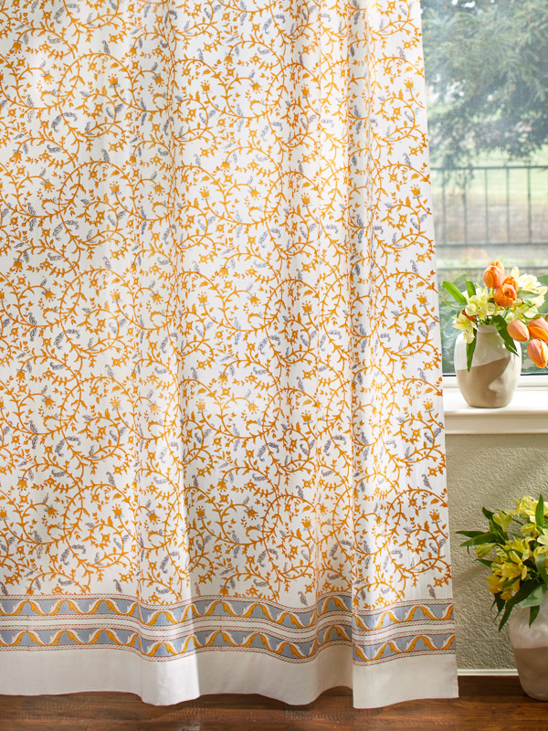 Gardens of Versailles ~ French Yellow Gold Floral White Curtain