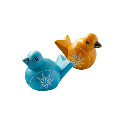 soapstone birds in blue and golden yellow to place on an Easter tablescape