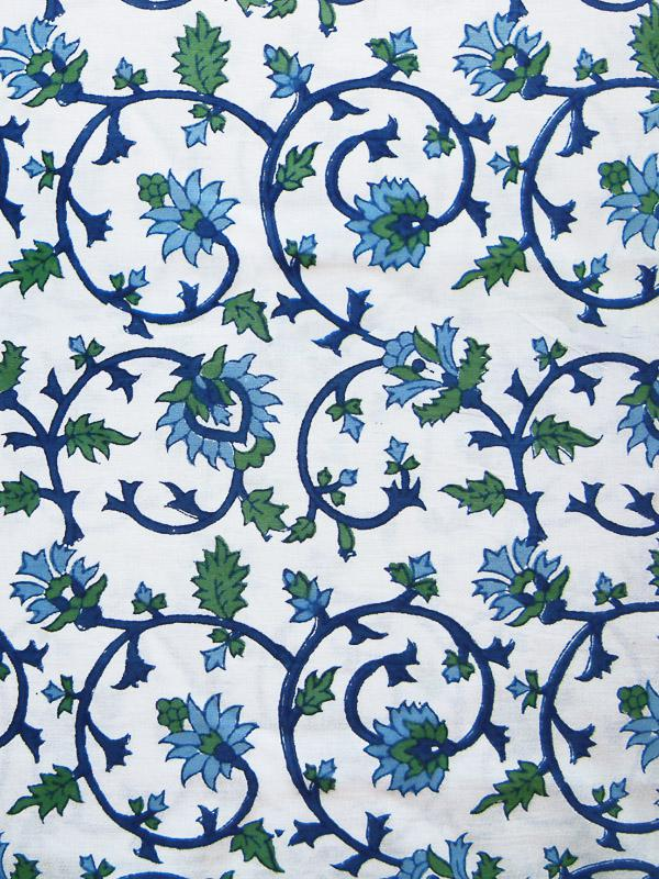 white, green, and blue floral pattern with vines