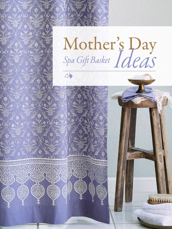 purple shower curtain and sign that says Mother's Day spa gift basket ideas