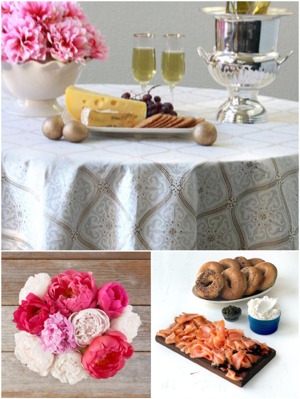 collage of white and gold tablecloth with pink flowers, wine, cheese, crackers, salmon, and bagels