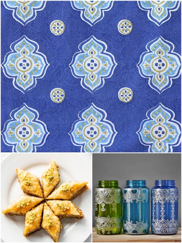 Moroccan brunch theme with blue Moroccan pattern tablecloth, baklava, lanterns