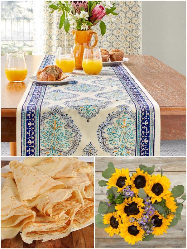 yellow and teal table runner, sunflowers, crepes for French brunch themes