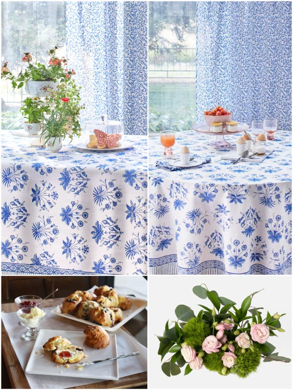 blue and white floral tablecloth, pink floral bouquet, English high tea