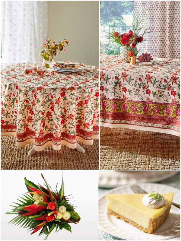 tropical flowers and tropical tablecloth, slice of key lime pie, a collage of a Tropical Mother's Day brunch themes