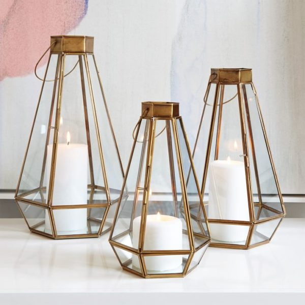 West Elm faceted lanterns, Moroccan lanterns for boho decor and global chic style