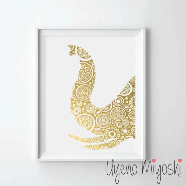 yellow gold foil elephant art print