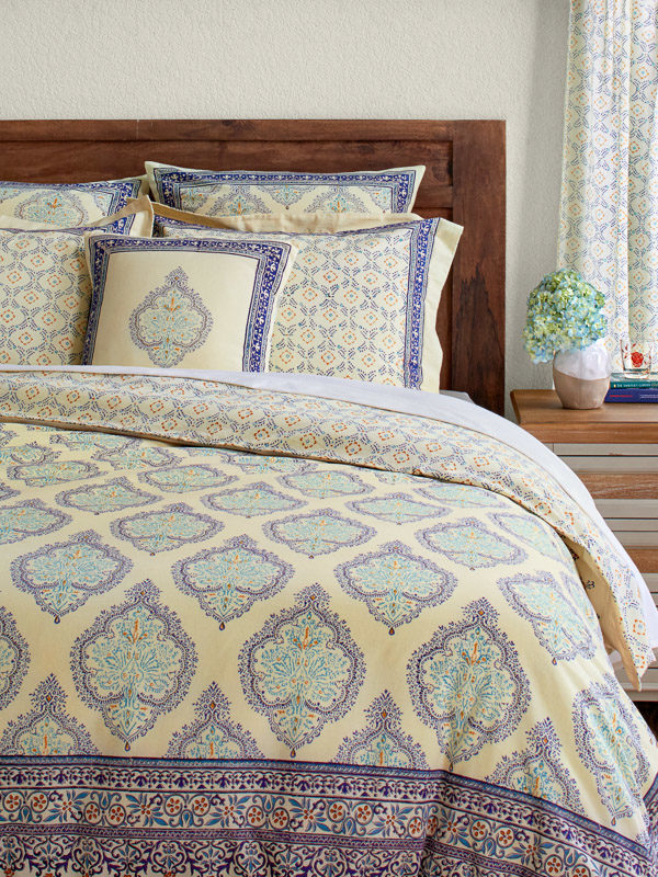 yellow bedding, French Moroccan print, with boho medallions