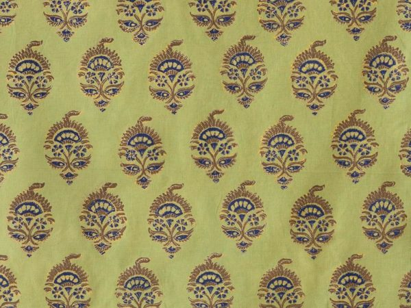 Light grassy green fabric features navy blue, chocolate brown, and gold accents in an Asian-inspired pattern.