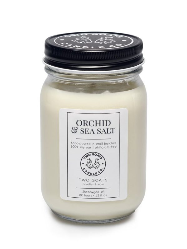 orchid and sea salt candle from two goats