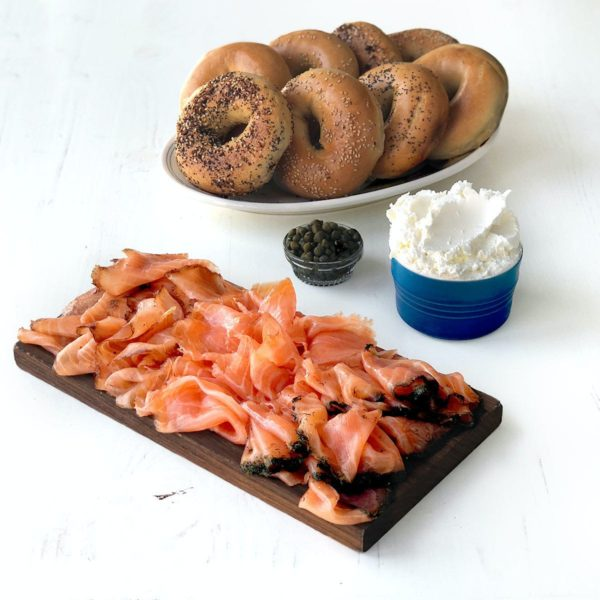 bagels and a smoke salmon assortment served for glam brunch themes for Mother's Day