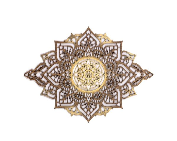mandala decor, wood carved, in a room with boho curtains