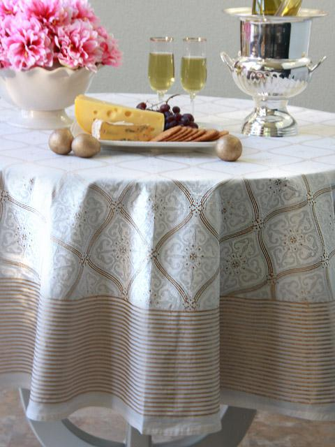 white and gold tablecloth, block print, white and gold home decor