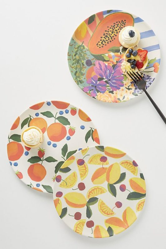 Summer tableware in fruit and floral patterns needs a summer tablecloth to amp up the tablescape!