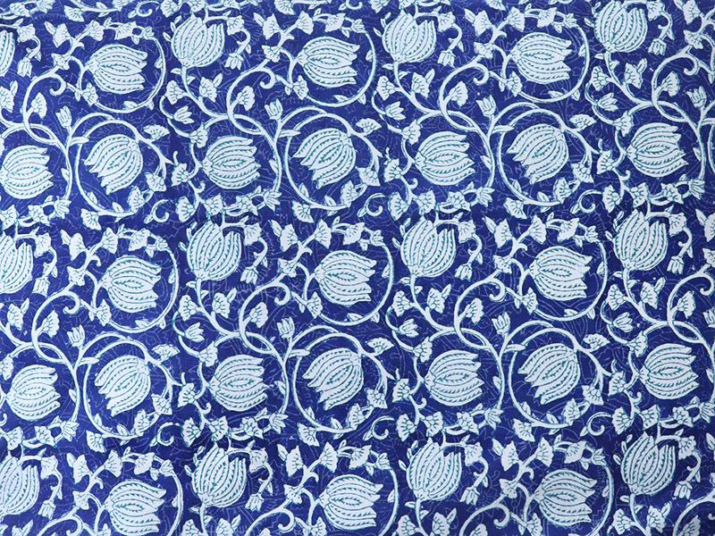a blue floral pattern swatch, Indian fabric swatch with lotus pattern